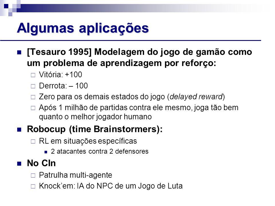 Algumas aplicações [Tesauro 1995] Modelagem do jogo de gamão como um problema de aprendizagem por reforço: